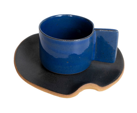 Jogo de Xícaras e Pires para Café em Argila Palito Branco e Azul - 04 Pessoas   WestwingNow