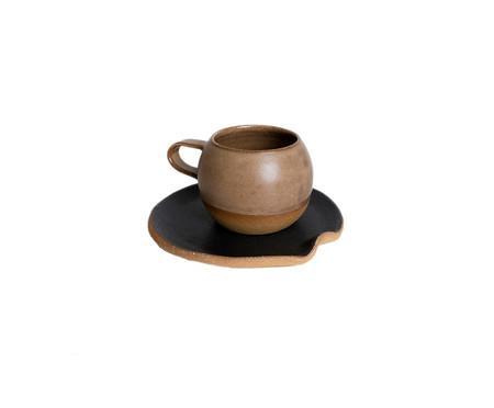 Jogo de Xícaras e Pires para Chá em Argila Bola Rosa e Marrom - 04 Pessoas | WestwingNow