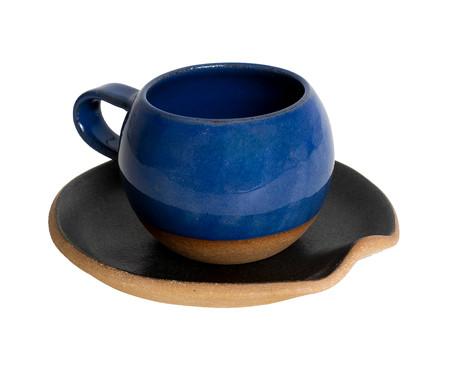 Jogo de Xícaras e Pires para Chá em Argila Bola Branco e Azul - 04 Pessoas   WestwingNow