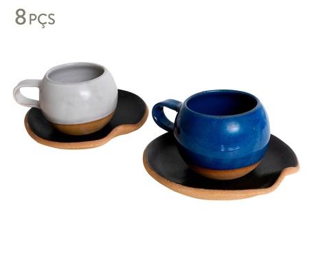 Jogo de Xícaras e Pires para Chá em Argila Bola Branco e Azul - 04 Pessoas | WestwingNow