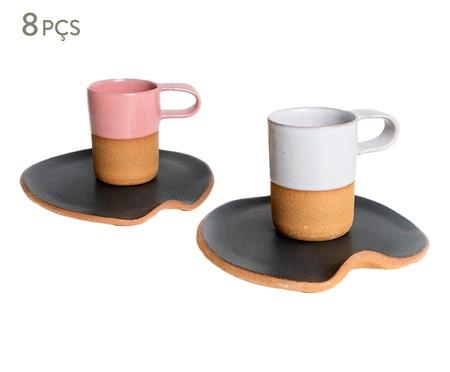 Jogo de Xícaras e Pires para Café em Argila Cone - Branco e Rosa | WestwingNow