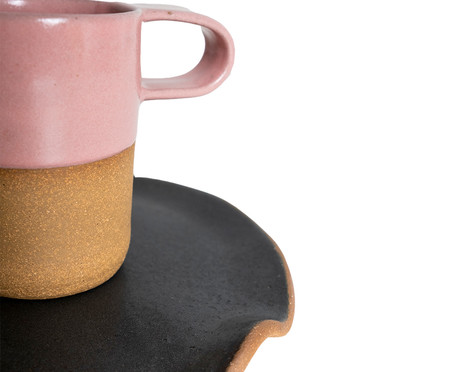 Jogo de Xícaras e Pires para Café em Argila Cone Branco e Rosa - 04 Pessoas | WestwingNow