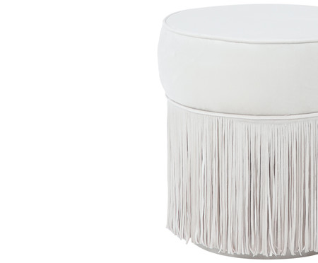 Puff Franja Simples - Off White | WestwingNow