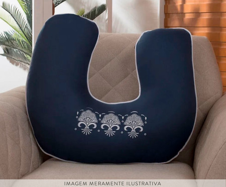 Almofada de Amamentação Elegance - Marinho e Branco | WestwingNow