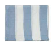Cobre-Leito em Tricô Joseph - Azul e branco | WestwingNow