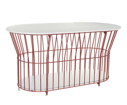 Mesa de Centro Basket Oval - Cobre, Branco, Cobre | WestwingNow