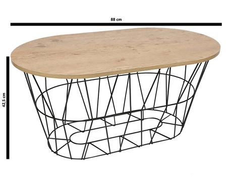 Mesa de Centro Retangular Basket Oval - Preta e Carvalho Amêndoa | WestwingNow