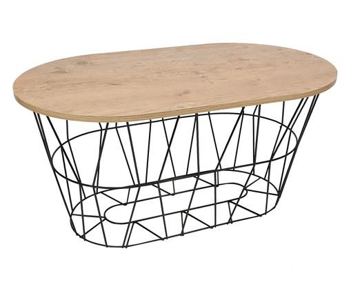 Mesa de Centro Retangular Basket Oval - Preta e Carvalho Amêndoa, Preto, Natural | WestwingNow