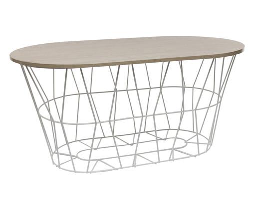 Mesa de Centro Basket Oval - Branca, Branco, Natural | WestwingNow