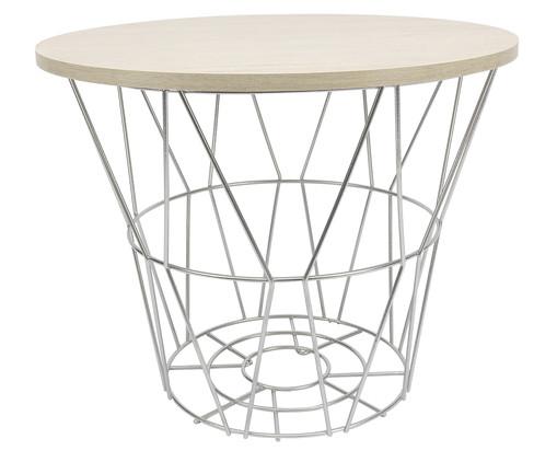 Mesa Lateral Basket Redonda - Prateada e Carvalho, Prata / Metálico, Natural | WestwingNow