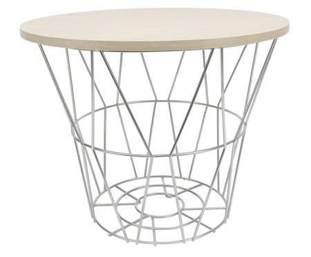 Mesa Lateral Basket Redonda - Prateada e Carvalho | WestwingNow