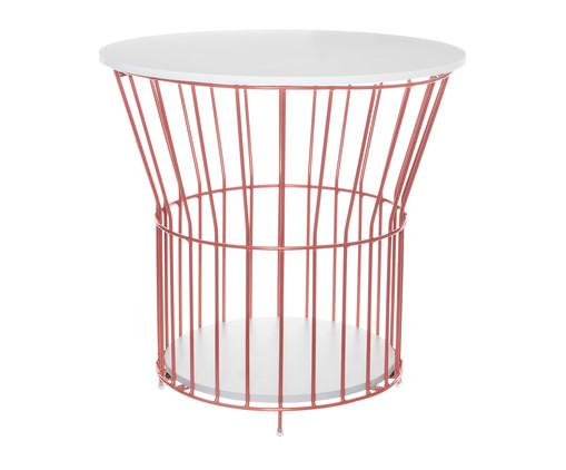Mesa Lateral Basket Redonda - Acobreada, Branco, Cobre | WestwingNow