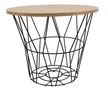 Mesa Lateral Basket Redonda - Preta e Carvalho | WestwingNow