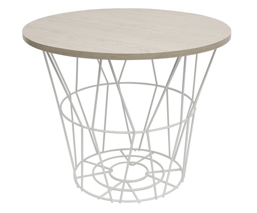 Mesa Lateral Basket Redonda - Branca e Carvalho, Branco, Natural | WestwingNow