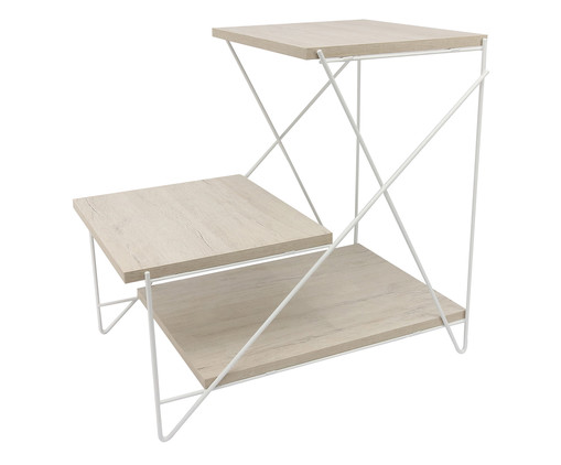 Mesa Lateral Cox Stabile - Branca e Carvalho, Branco, Natural | WestwingNow