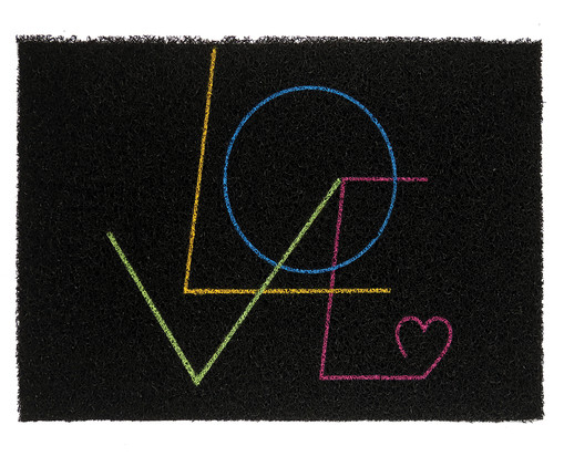 Capacho Vinil Super Print Love, Preto   WestwingNow