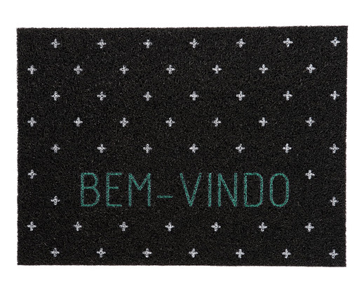 Capacho Vinil Super Print Bem-Vindo, Preto | WestwingNow