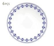 Jogo de Pratos Rasos em Porcelana Evori - Azul | WestwingNow