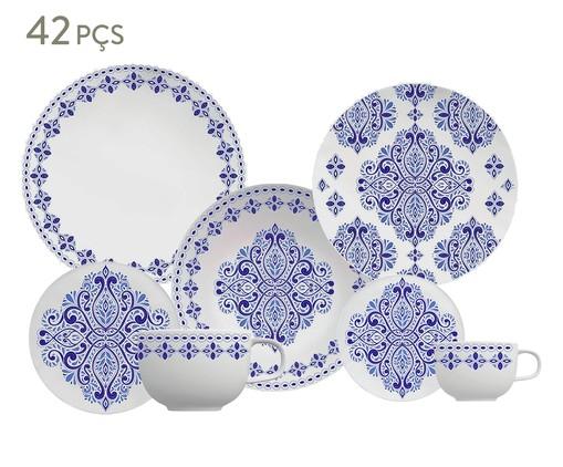 Jogo de Jantar em Porcelana Evori - 06 Pessoas, Branco,Azul   WestwingNow