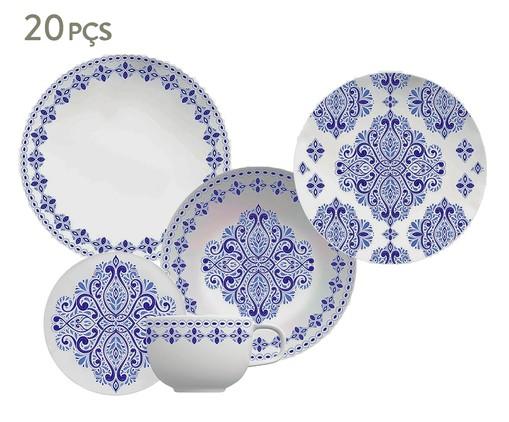 Jogo de Jantar em Porcelana Evori - 04 Pessoas, Branco,Azul   WestwingNow