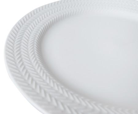 Jogo de Pratos Rasos em Porcelana Lucerne - Branco   WestwingNow