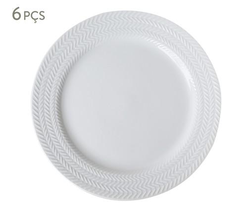 Jogo de Pratos Rasos em Porcelana Lucerne - Branco, Branco | WestwingNow