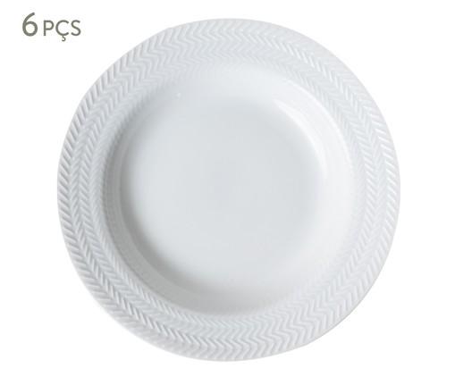 Jogo de Pratos Fundos em Porcelana Lucerne - Branco, Branco | WestwingNow