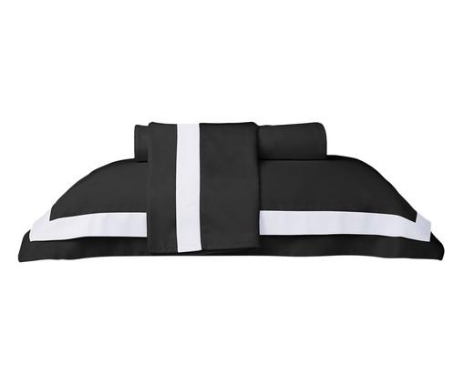 Jogo de Lençol Cetim Naturalle Fashion St. Germain 300 fios - Preto e Branco, Preto e Branco   WestwingNow