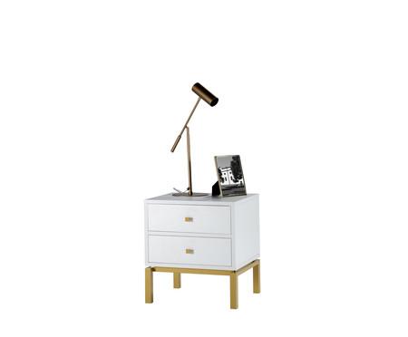 Mesa de Cabeceira Joyful - Branco e Dourado | WestwingNow