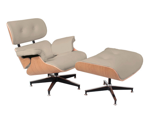 Poltrona e Pufe em Couro Ecológico Charles Eames - Pérola e Mel, Branco, Colorido | WestwingNow