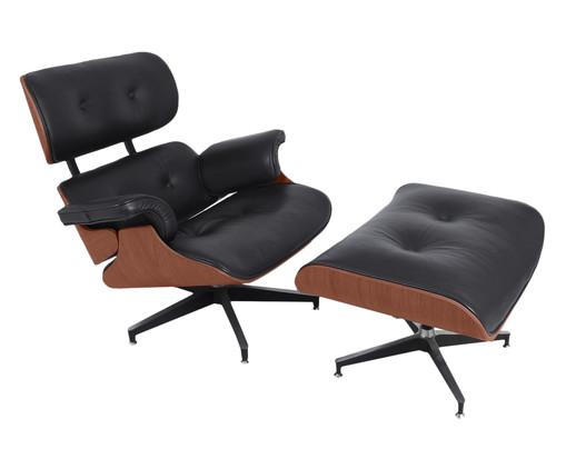 Poltrona com Pufe em Couro Charles Eames - Preta e Jacarandá, preto,madeira | WestwingNow