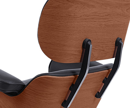 Poltrona com Pufe em Couro Charles Eames - Preta e Jacarandá | WestwingNow