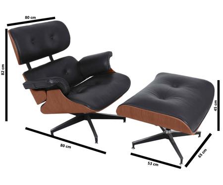 Poltrona com Pufe em Couro Ecológico Charles Eames - Preta e Jacarandá | WestwingNow