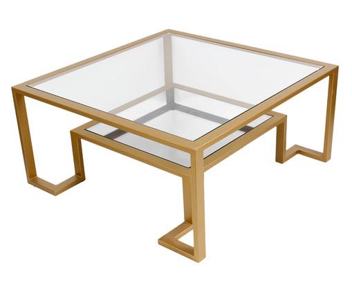 Mesa de Centro Quadrado Grego Square - Dourado, Dourado, Transparente | WestwingNow