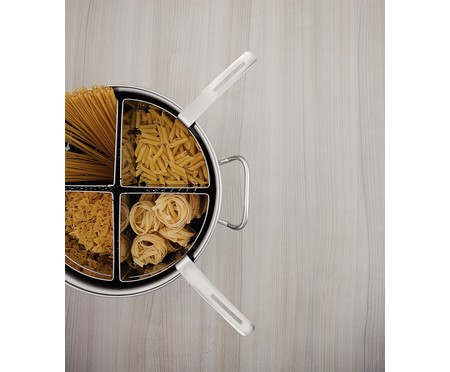 Jogo de Cozi-Pasta em Inox Tazzi Prata - 05 Peças | WestwingNow