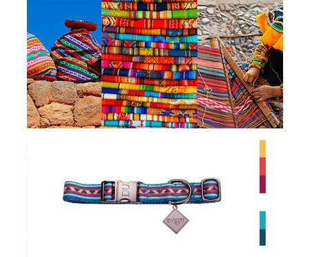 Coleira para Cachorros Machu Picchu - Azul | WestwingNow