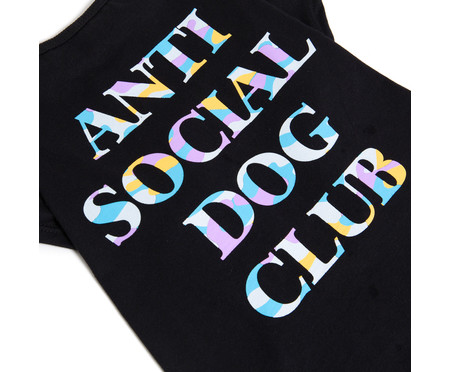 Camiseta para Cachorro Anti Social Dog Club - Preto   WestwingNow