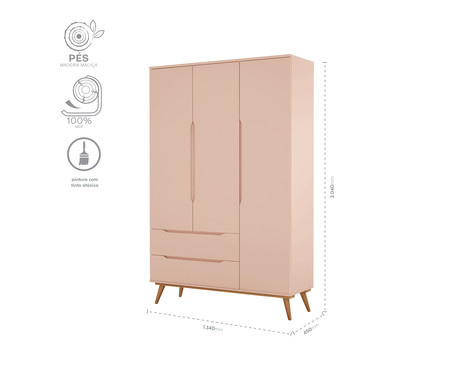 Armário Retrô Rosê e Wood - 03 Portas | WestwingNow