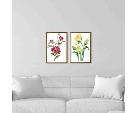Jogo de Quadros com Vidro Florais | WestwingNow