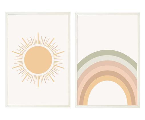 Jogo de Quadros com Vidro Sol e Arco Irís, Multicolorido   WestwingNow