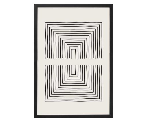 Quadro com Vidro Linhas Preto e Branco - 40x60, Preto,Branco   WestwingNow