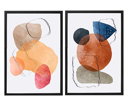 Jogo de Quadros Abstratos Abby   WestwingNow