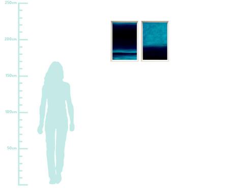 Jogo de Quadros com Vidro Abstratos Azul   WestwingNow
