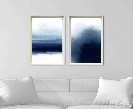Jogo de Quadros com Vidro Abstratos Azul Deirdre   WestwingNow