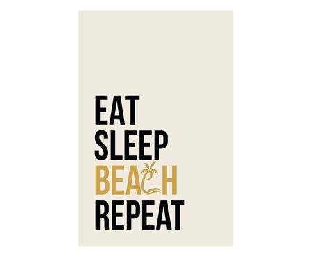 Placa de Madeira Decorativa Eat Spleep Beach Repeat   WestwingNow