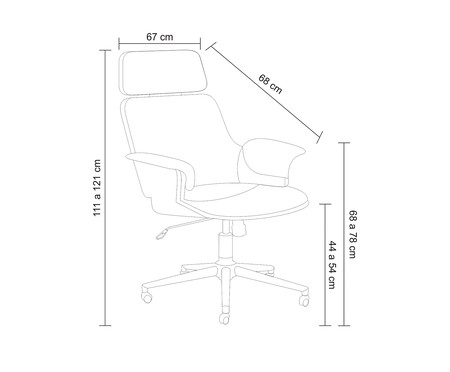 Cadeira de Escritório com Rodízio Ginger - Marrom | WestwingNow