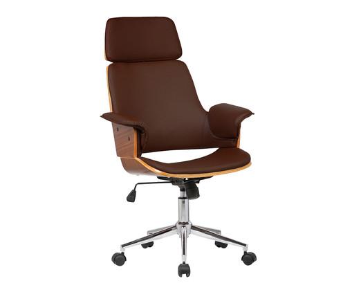 Cadeira de Escritório com Rodízio Ginger - Marrom, Marrom | WestwingNow
