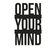 Placa de Madeira Decorativa Open Your Mind - Preta | WestwingNow