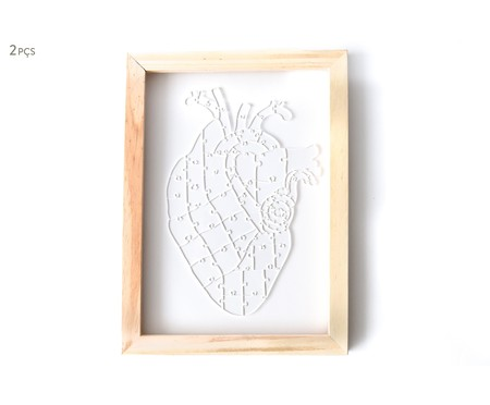 Jogo de Quebra-Cabeça Transparente  Heart com Moldura Madeira | WestwingNow