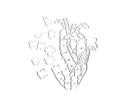 Jogo de Quebra-Cabeça Transparente  Heart com Moldura Preta | WestwingNow
